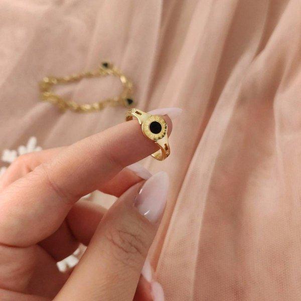 Pierścionek stal chirurgiczna platerowana złotem PST594, Rozmiar pierścionków: US7 EU14