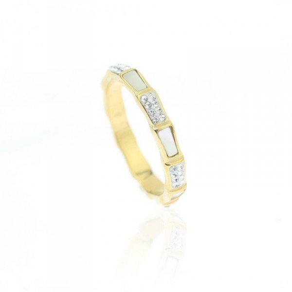 Pierścionek stal chirurgiczna platerowana złotem PST617, Rozmiar pierścionków: US9 EU20