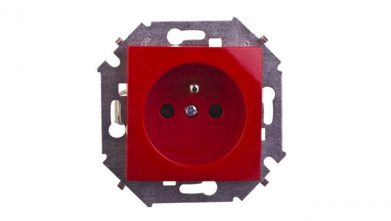 Simon 15 Gniazdo pojedyncze z/u 16A IP20 z przesłoną torów czerwone 1591418-037