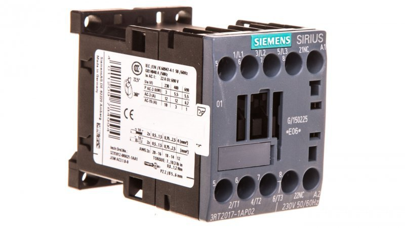 Stycznik mocy 12A 3P 230V AC 0Z 1R S00 3RT2017-1AP02