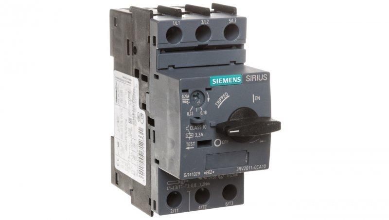 Wyłącznik silnikowy 3P 0,06kW 0,18-0,25A S00 3RV2011-0CA10