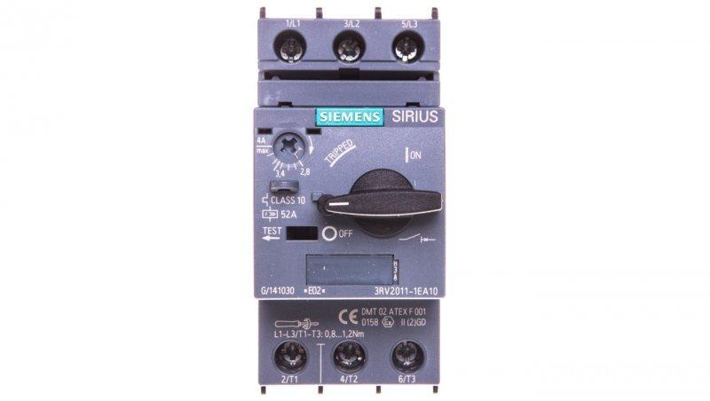 Wyłącznik silnikowy 3P 1,5kW 2,8-4A S00 3RV2011-1EA10