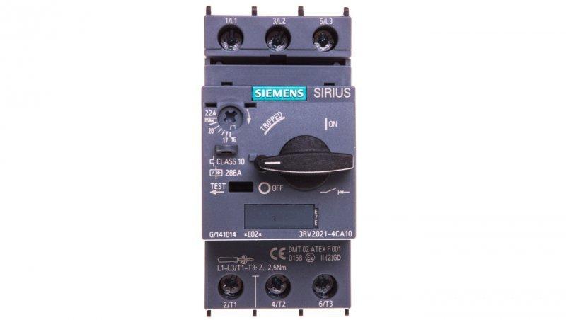 Wyłącznik silnikowy 3P 11W 17-22A S0 3RV2021-4CA10