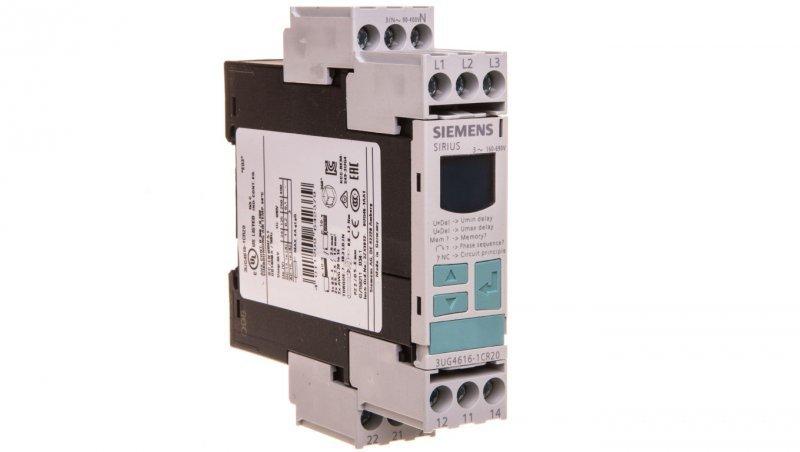 Przekaźnik kolejności, zaniku i asymetrii faz, kontrola nad-/podnapięciowa 2P 0,1-20s 160-690V AC z LCD 3UG4616-1CR20