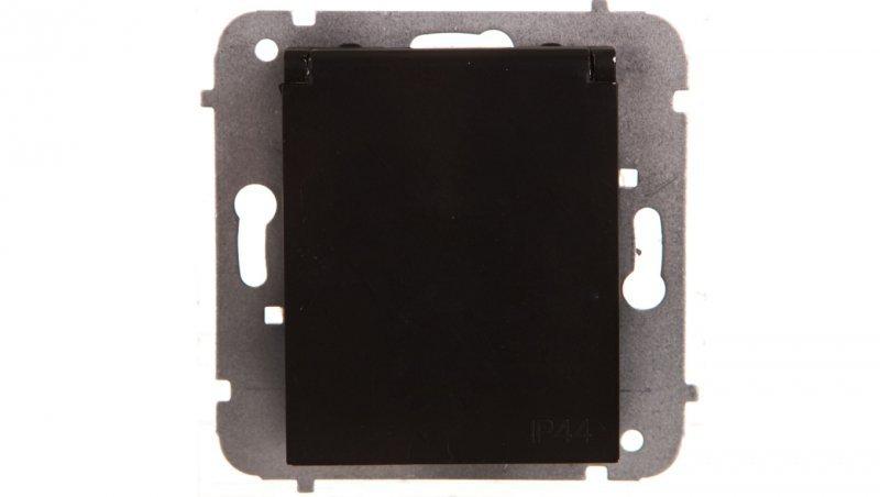 Catrin Gniazdo bryzgoszczelne z/u IP44 z klapką białą i przesłonami bez ramki czarne 2136-19