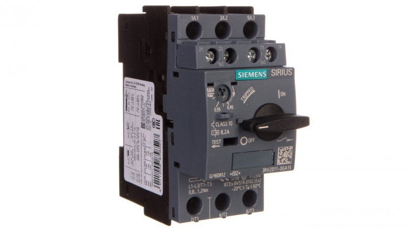 Wyłącznik silnikowy 3P 0,45-0,63A 1Z 1R S00 3RV2011-0GA15