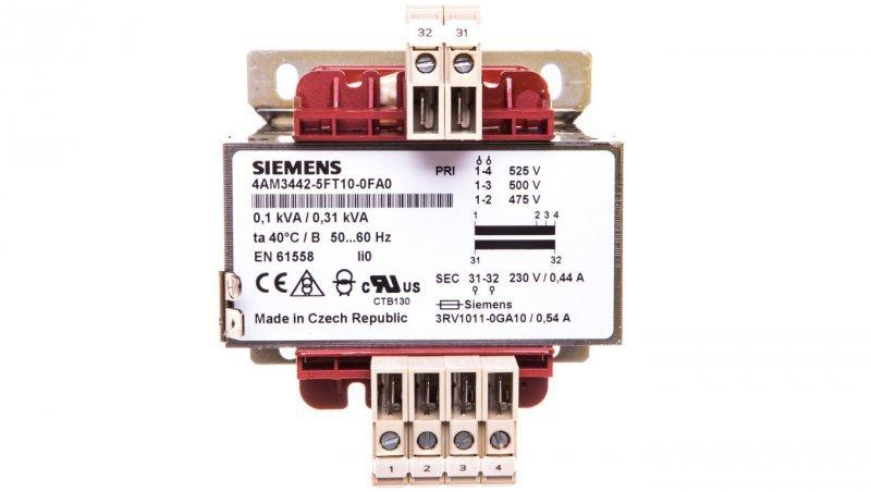 Transformator 1-fazowy 100VA 500/230V AC izolacyjny do obwodów pomocniczych 4AM3442-5FT10-0FA0