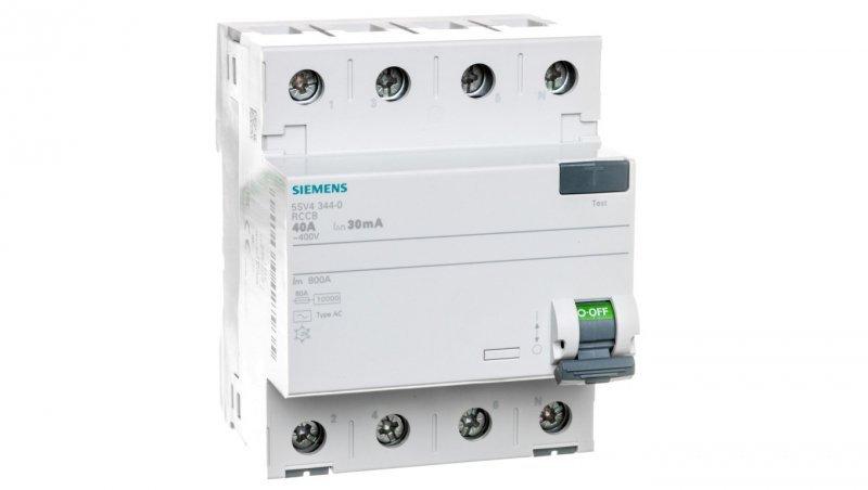 Wyłącznik różnicowoprądowy 4P 40A 0,03A typ AC 5SV4344-0