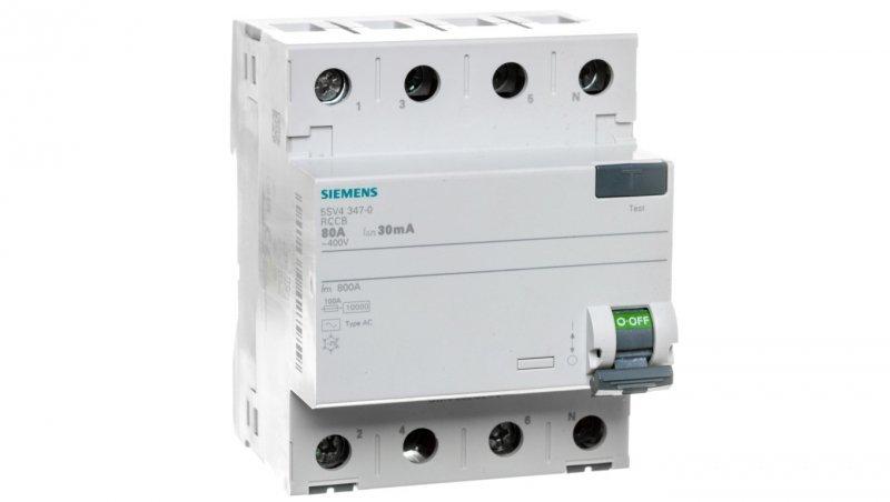 Wyłącznik różnicowoprądowy 4P 80A 0,03A typ AC 5SV4347-0