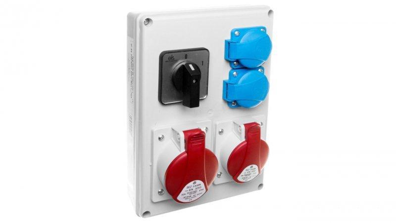 Rozdzielnica 1x16A 5P/ 1x32A 5P 2x230V TVM 21 IP44 wyłącznik 0-1 ROS-W1603.2/0-1