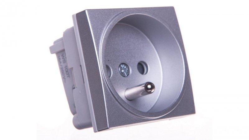 Systo Gniazdo pojedyncze z/u 16A/250V samozaciski 2 moduły aluminium WS100T