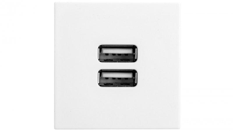 MOSAIC Gniazdo zasilające podwójne USB 2400mA białe 077594