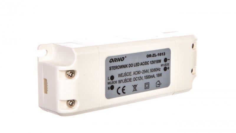 Zasilacz LED 12V DC 18W 1,5A IP20 OR-ZL-1613