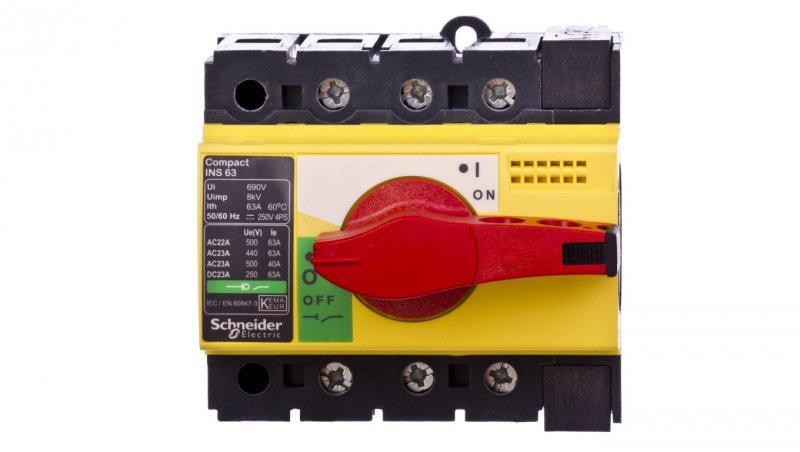 Rozłącznik 3P 63A dzwignia żółto-czerwona INS63 28918