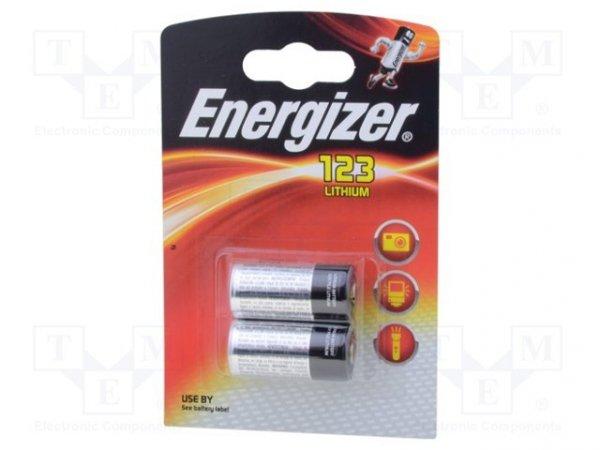 Bateria: litowa; 3V; CR123A,R123; PHOTO; Il.bat: 2; Ø17x34,2mm