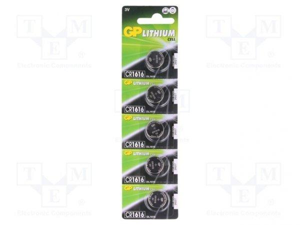 Bateria: litowa; 3V; CR1616,pastylkowa; Il.bat: 5; Ø16x1,6mm; 42mAh