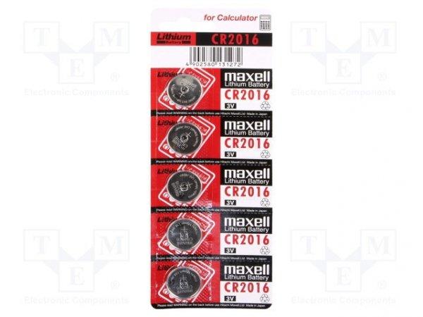 Bateria: litowa; 3V; CR2016,pastylkowa; Il.bat: 5; Ø20x1,6mm