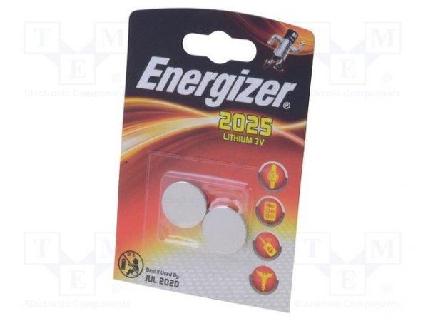 Bateria: litowa; 3V; CR2025,pastylkowa; Il.bat: 2; Ø20x2,5mm