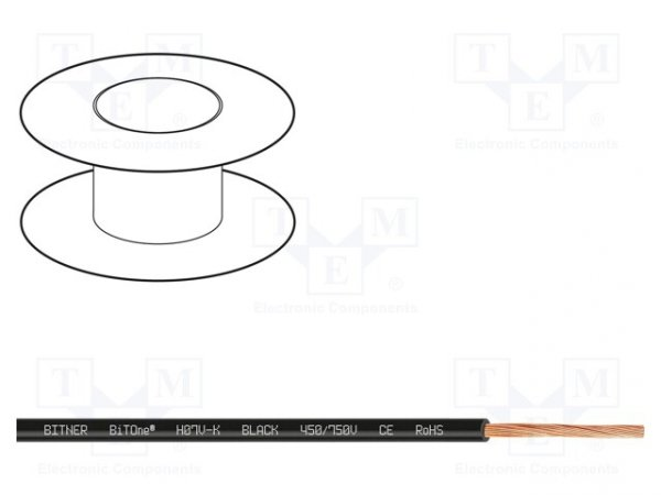 Przewód; BiTOne; linka; Cu; 10mm2; czarny; PVC; 450/750V; 100m