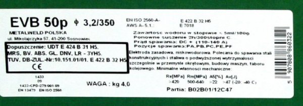 ELEKTRODA ZASADOWA BASOWELD NIESTOPOWA EVB50P 4.0MM 5.5KG