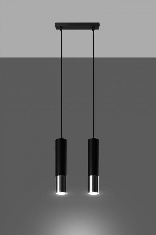 Lampa wisząca LOOPEZ 2 czarny/chrom