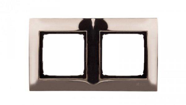 Simon 54 Premium Ramka podwójna metalowa złoto DR2/66