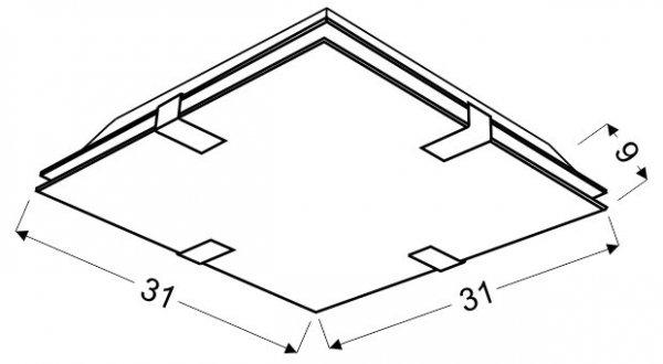 RAPSODY PLAFON 31X31 2X60W E27 KWADRAT