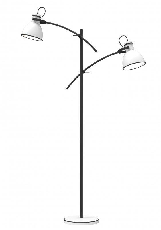 ZUMBA LAMPA PODŁOGOWA SZTYCA PROSTA 2X40W E27 BIAŁY+CZARNY