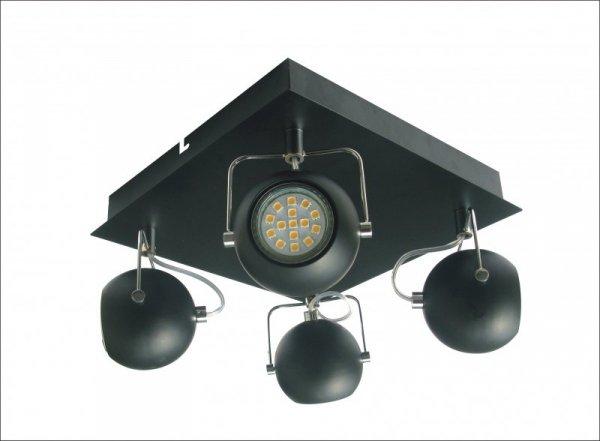 TONY PLAFON 4X3W LED GU10 CZARNY MATOWY