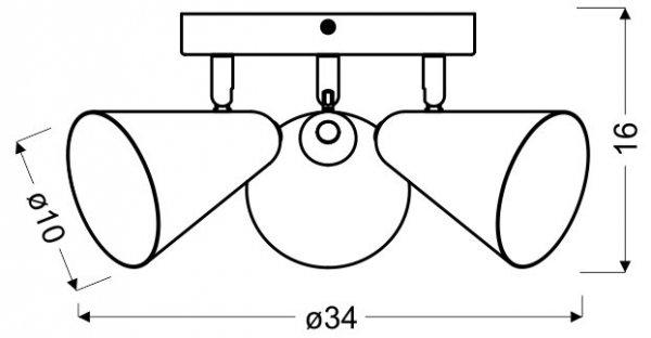 AMOR PLAFON 3X40W E14 SZARY MAT