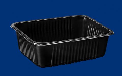 Zgrzew  Pojemnik obiadowy żebrowany czarny A320