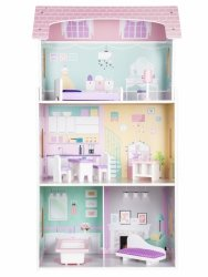 Drewniany domek dla lalek + mebelki wysoka rezydencja Jagodowa ECOTOYS