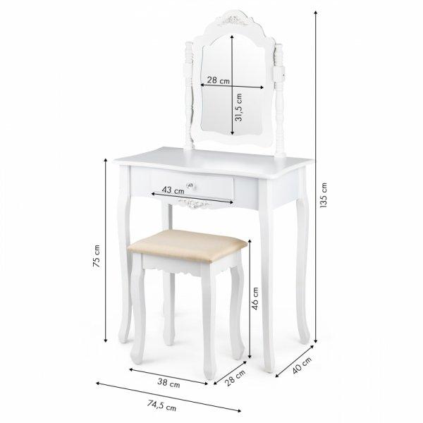 Toaletka kosmetyczna duże regulowane lustro stołek