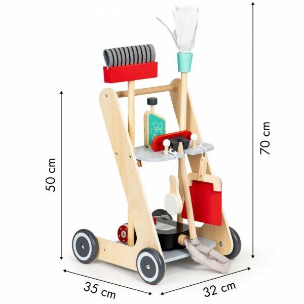 Drewniany zestaw do sprzątania wózek xxl odkurzacz