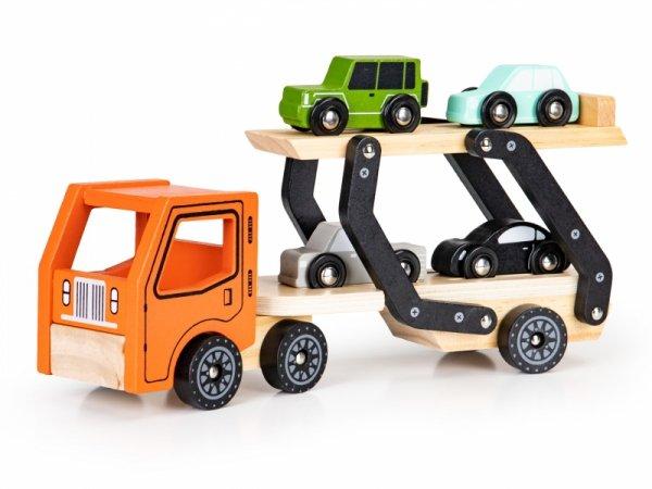 Drewniana zabawka ciężarówka tir laweta 4 autka