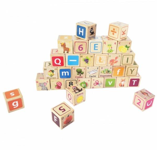 Drewniane klocki edukacyjne litery cyfry obrazki