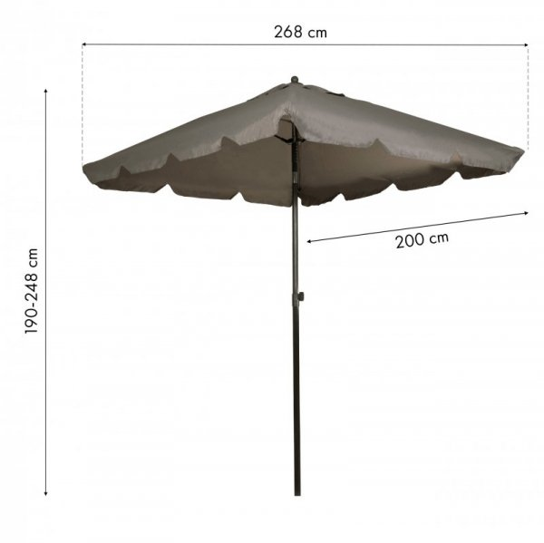 Parasol ogrodowy skośny składany regulacja 200x200