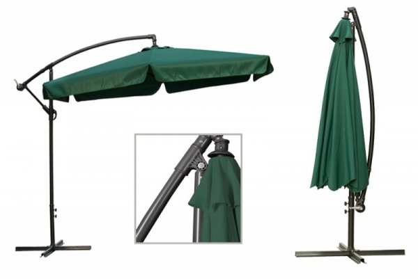 Duży zielony parasol ogrodowy składany 350 cm