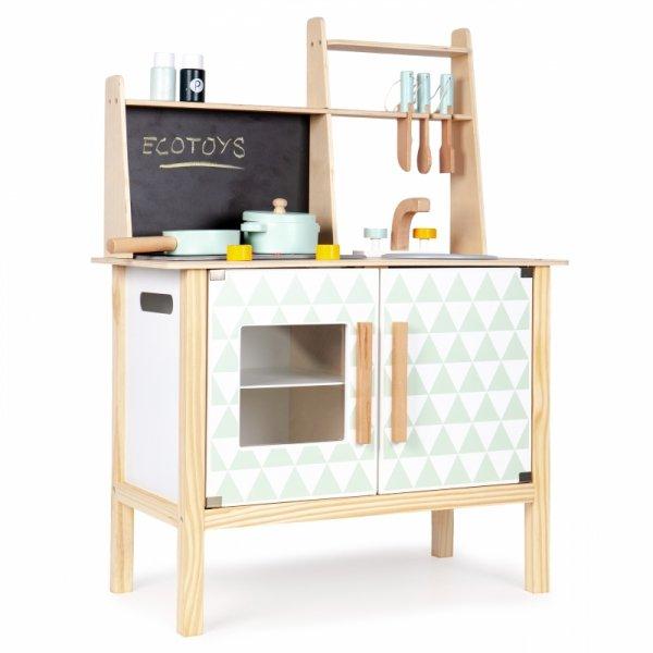 Drewniana kuchnia z tablicą dla dzieci Ecotoys