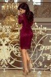 Sukienka koronkowa z długim rękawkiem i Dekoltem - Bordowa - numoco 170-5