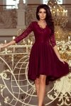 Sukienka z dłuższym tyłem z koronkowym dekoltem Nicolle - Bordowa- numoco 210-1