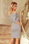 Sukienka sportowa z wiązaniem - Szaro-Białe Pasy - numoco 13-102