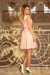 Sukienka z okrągłym dekoltem i koronką Flora - Pastelowy  Róż - numoco 244-1