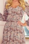 Zwiewna szyfonowa sukienka z dekoltem - wzór boho - BAKARI