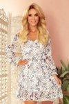 Bakari zwiewna szyfonowa sukienka z dekoltem - KWIATY na jasnym tle - 4