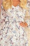 Bakari zwiewna szyfonowa sukienka z dekoltem - KWIATY na jasnym tle - 7