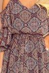 MARINA zwiewna sukienka z dekoltem - WZÓR MAROKAŃSKI-7