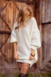 Dzianinowa sukienka-F1105-ecru-2