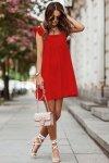 NOEL sukienka mini o lekko oversizowym kroju - Czerwona_2