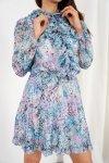 Szyfonowa sukienka z jedwabiem i żabotem wzór - StreetStyle LG518 - druk 15